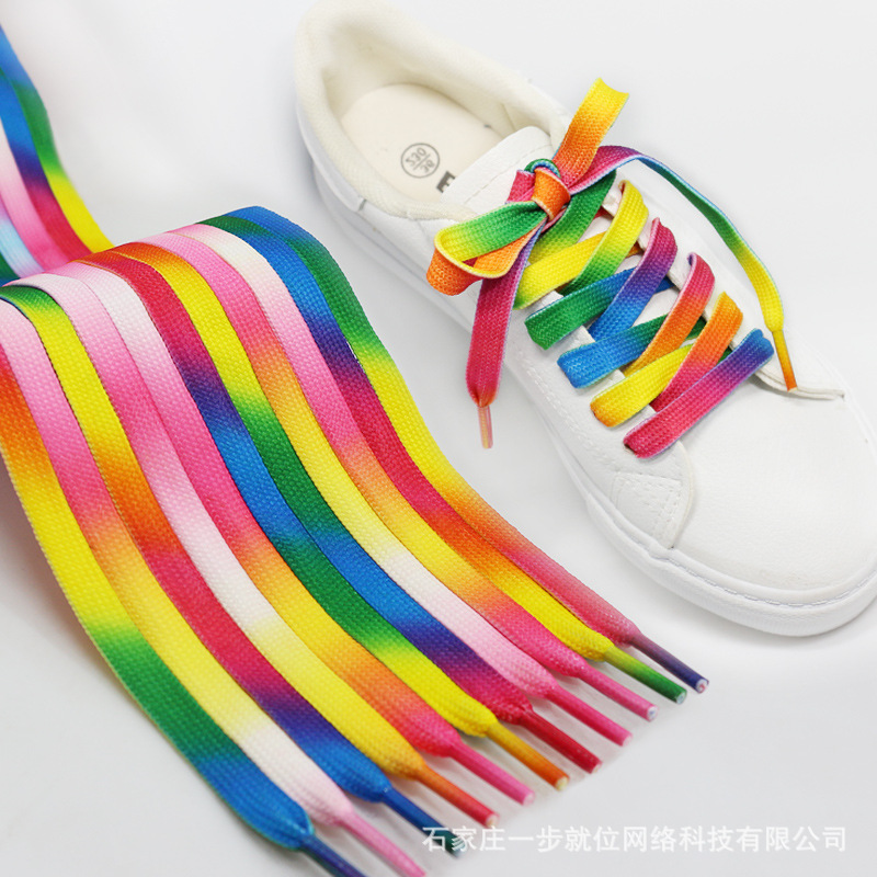 1pair 112cm Multi Colors Rainbow Flat Canvas Athletic Shoelaces Sports Sneaker Shoe Laces Shoe Wear Accessories