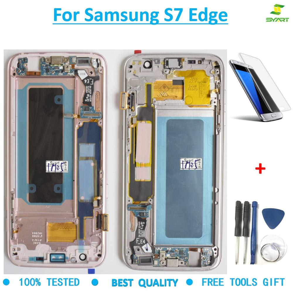 Super AMOLED 5.5For Samsung Galaxy S7 Edge Screen G935 G935F SM G935F LCD Display Touch Digitizer Assembly with Frame