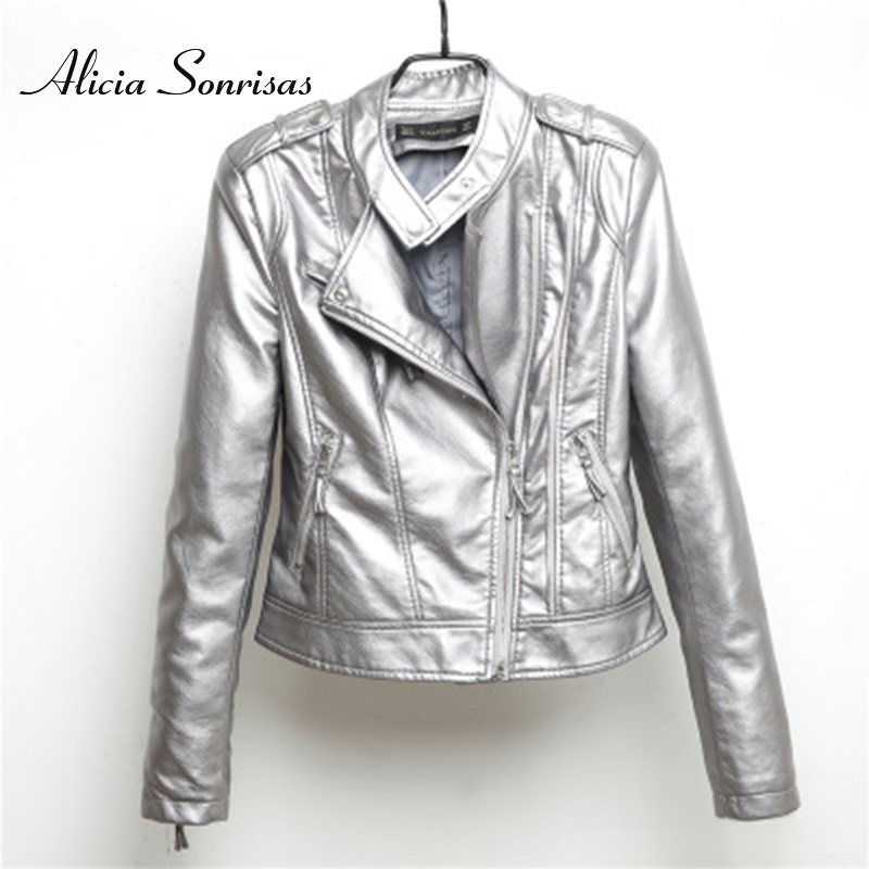 2019 New Pu   Leather   Jacket Women Fashion Multicolor Silver Motorcycle Coat Short Faux   Leather   Biker Jacket Female Soft Outerwear