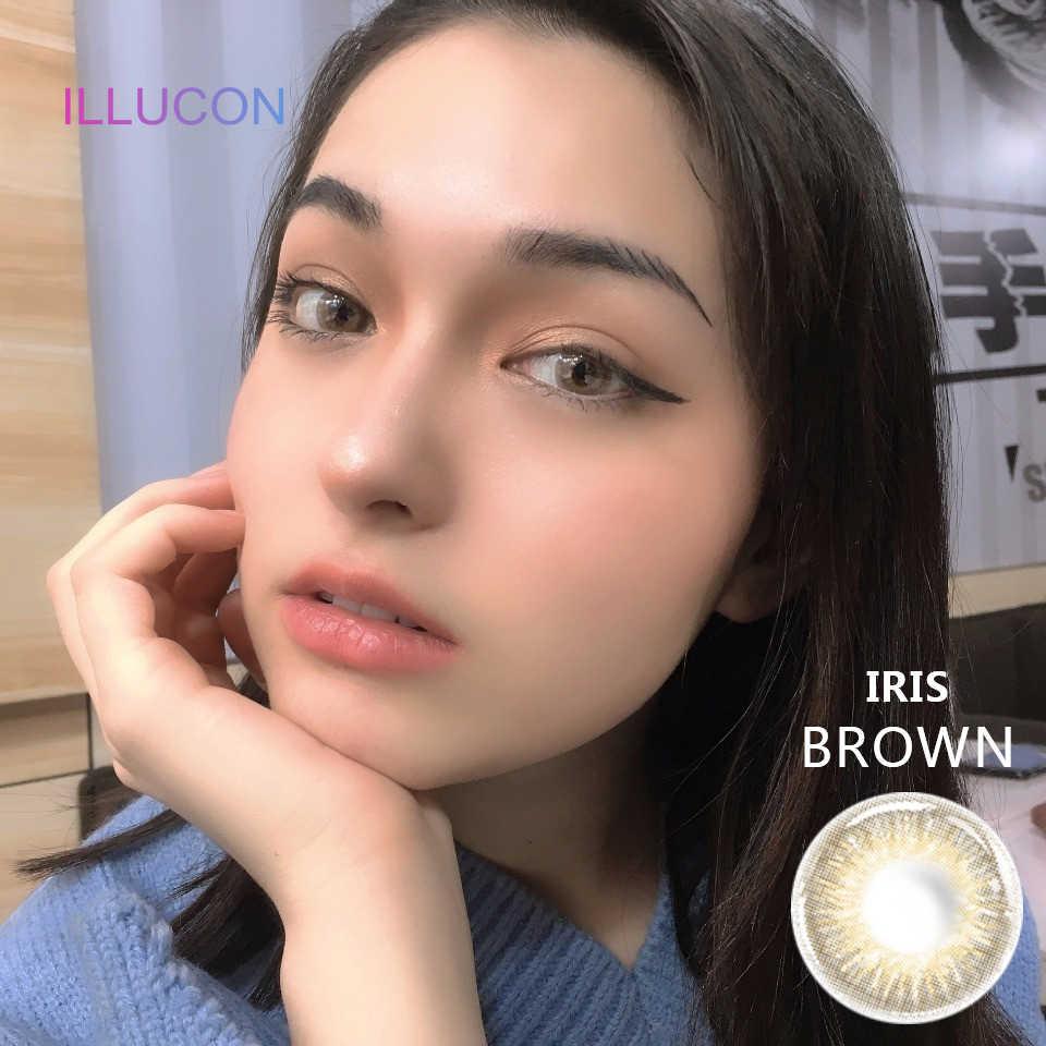 ILLUCON 2 sztuk/para kolorowe soczewki kontaktowe do oczu kolorowe kosmetyczne miękkie soczewki kontaktowe Peggy Series