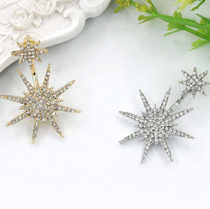 1pc Charms Jewelry Gift Fission Stud Earrings  Fashion Hexagram  Snowflake Crystal  Metal Party Anniversary Women Bling