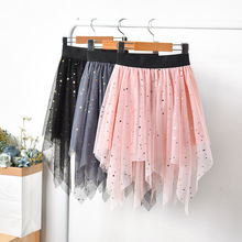 Sequins Star Tulle Skirts 2020 New Summer Irregular Girls Princess Cake