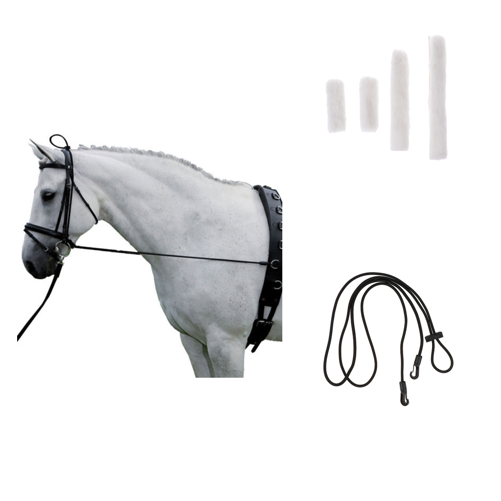 4pcs Soft Fleece White Horse Noseband Cover With 300cm Black Neck Stretcher Outdoor Equestrian Supplies