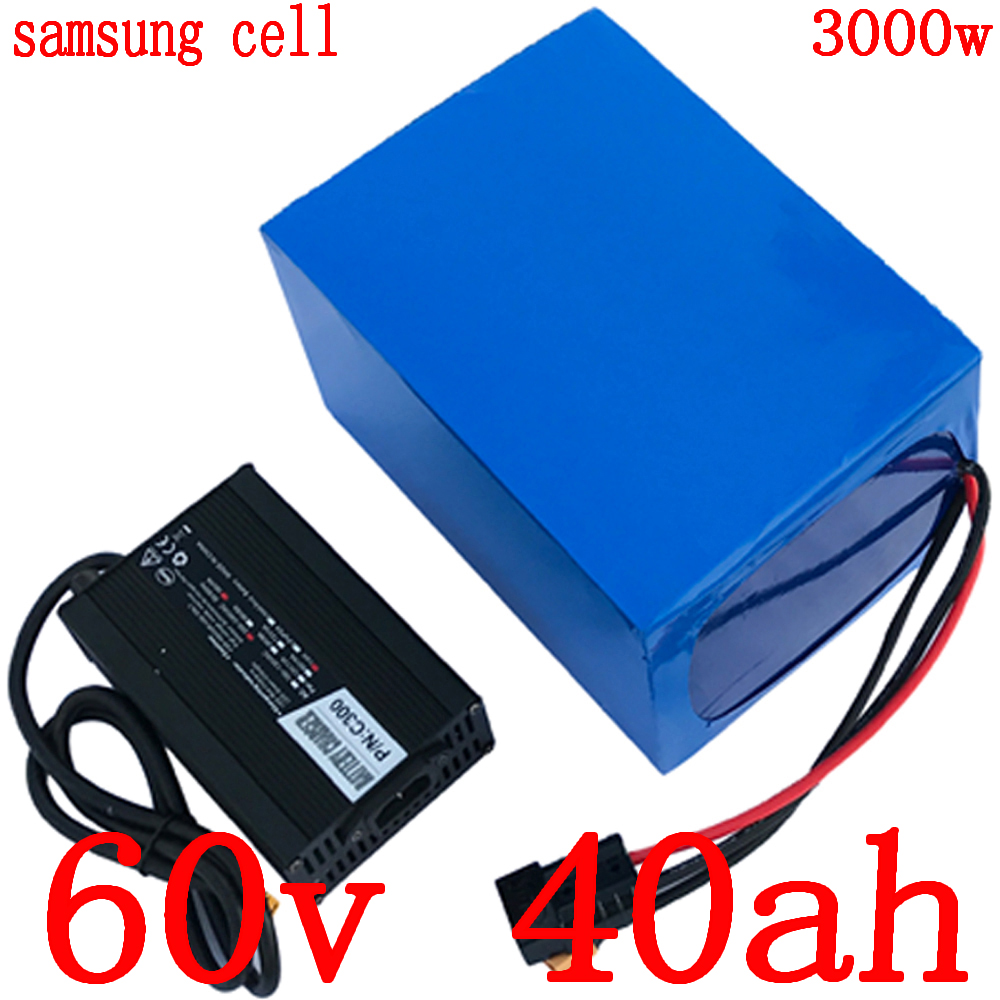 High Power 60V battery 60V 40AH use samsung cell Lithium battery pack 60V 40AH 3000W Electric Bicycle battery+ 67.2V 5A charger