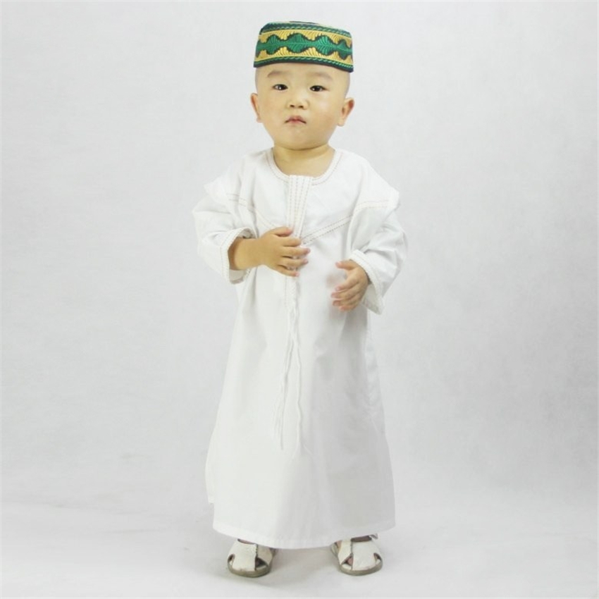 Kids Muslim Clothing Islamic Abaya Dubai Kaftan Muslim Jubba Thobe Eid Mubarak Prayer Toddler 1-3 Years Old Boys Robes 70-100CM