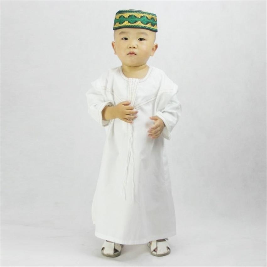 Kids Muslim Clothing Islamic Abaya Dubai Kaftan Muslim Jubba Thobe Eid Mubarak Prayer Toddler 1-3 Years Old Boys Robes 70-100CM