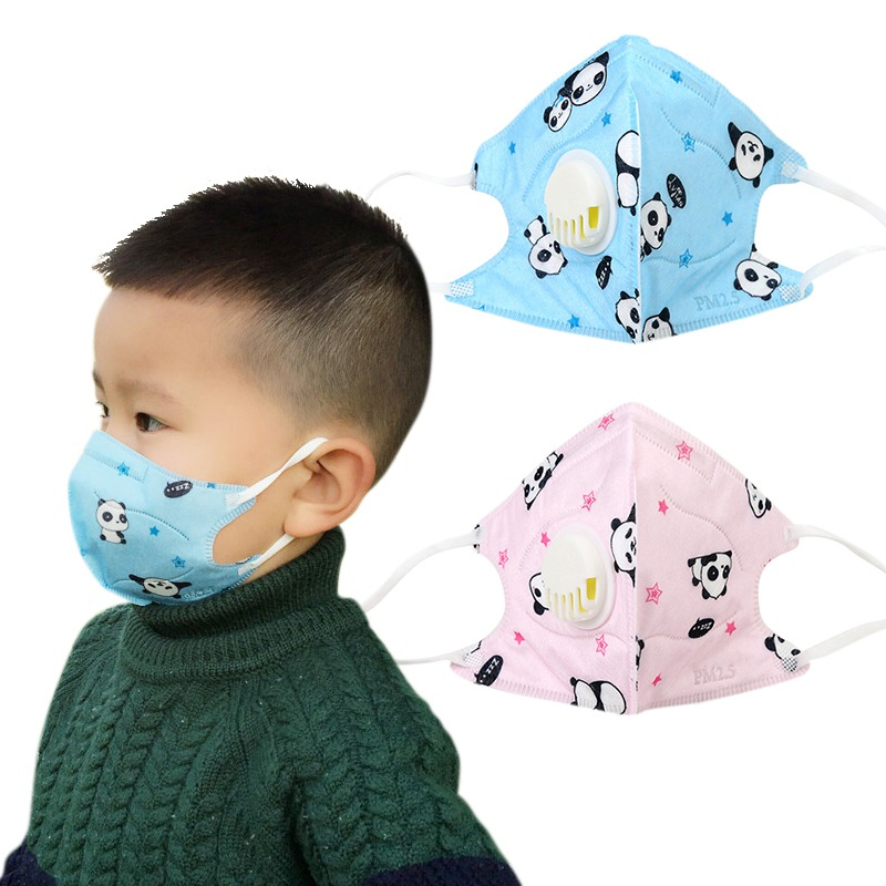 3PCS Mouth Face Mask For Kids Cartoon Cute PM2.5 Anti-Dust Disposable Non-Woven Fabric Masks With Respiration Tap