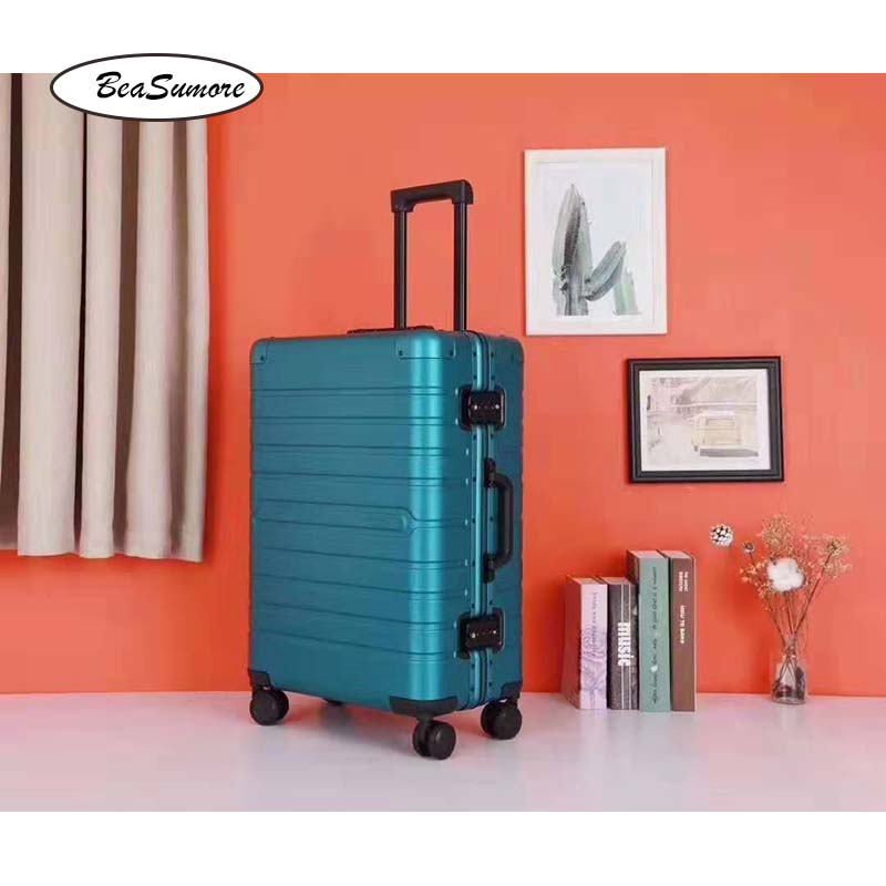 BeaSumore Retro 100% aluminum alloy Rolling Luggage Spinner high quality  Suitcase Wheels Men Business 20 inch Cabin Trolley