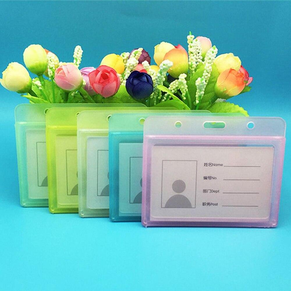 1pc Double Sided Transparent ID Card Holder Nurse student Waterproof Name badges holders Horizontal Id Badge Holder