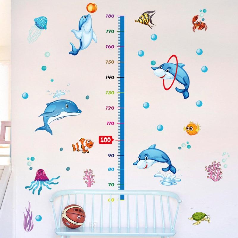 FIivdaHome Decoration Dolphin Height Sticker Super Cartoon Children Decorative Wall