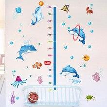 цена на FIivdaHome Decoration Dolphin Height Sticker Super Cartoon Sticker Children Decorative Wall Sticker