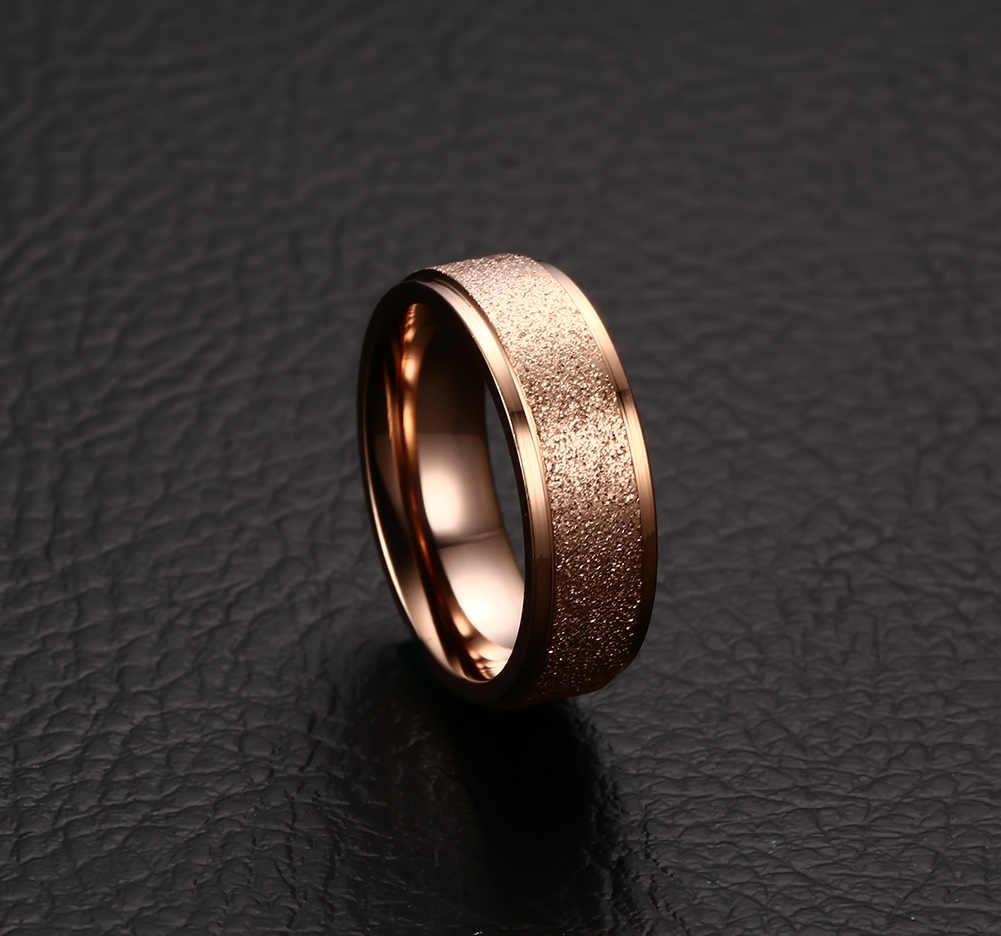 ZORCVENS ใหม่แฟชั่นแหวนไทเทเนียมคุณภาพสูงสีดำ Rose Gold Silver สีงานแต่งงาน Frosted แหวน