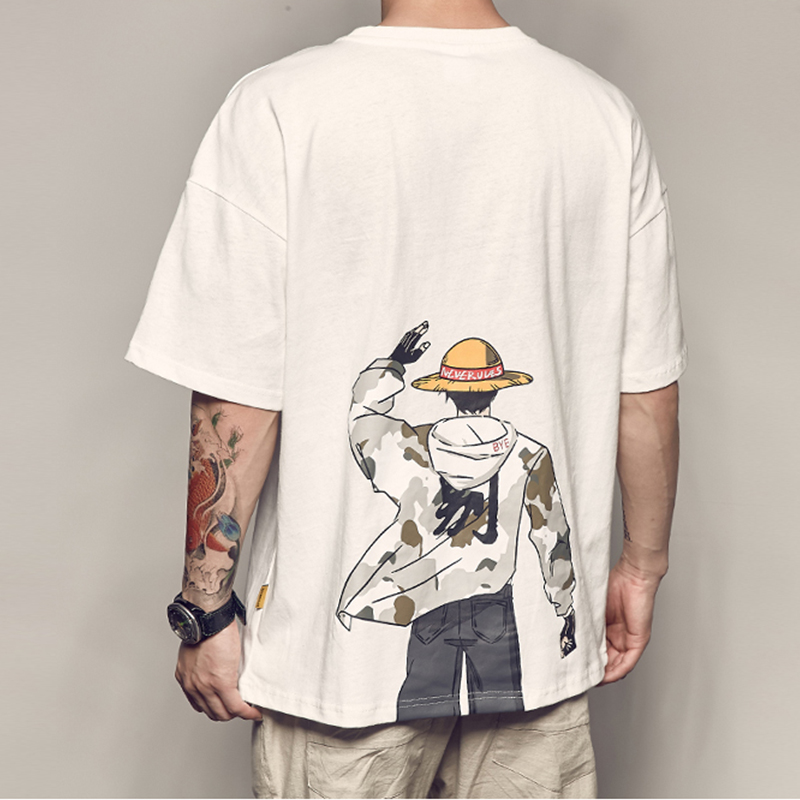 Oversized One Piece Luffy Anime Basic Print T Shirt Short Sleeve 2020 Funny Fashion Korean Harajuku Student Plus Size Clothes