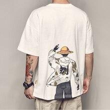 Camiseta de manga corta con estampado básico de anime Luffy de una pieza de gran tamaño 2020, ropa de estudiante de Harajuku Coreana de moda divertida de talla grande