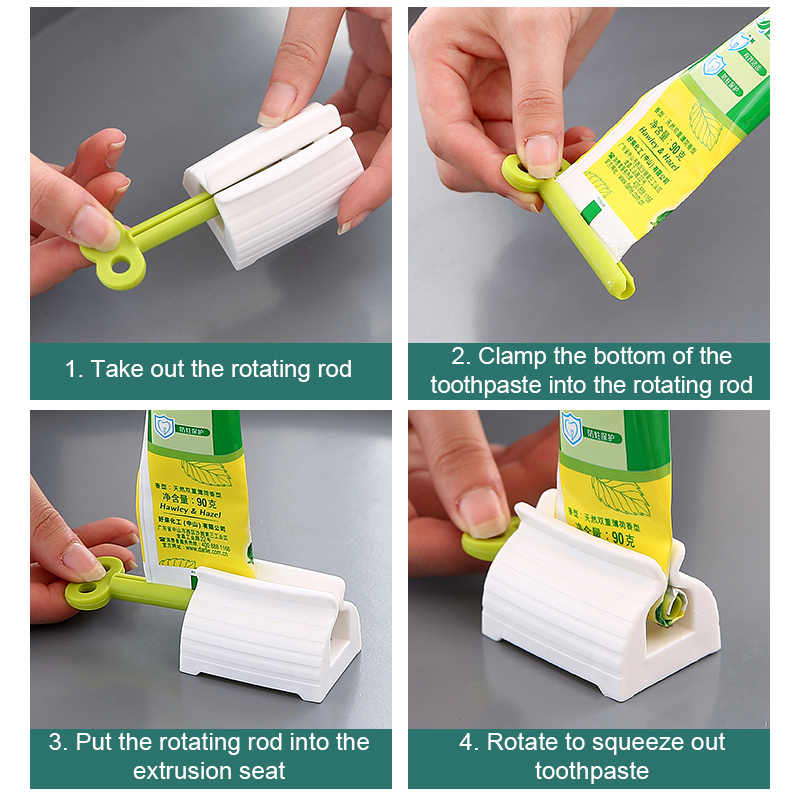 2Pcs Practical Bathroom Toothpaste Facial Foam Wash Squeezer Tube Dispenser