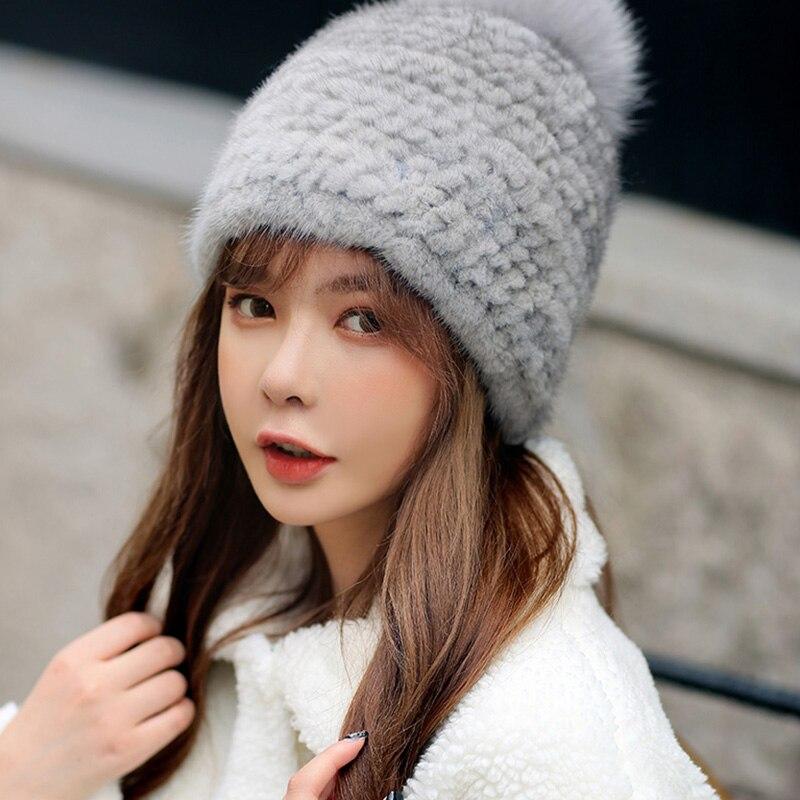 Winter Hats Female Real Mink Fur Genuine Fox Fur Pompom Hats Women Fashion Natural Fur Capes S7712