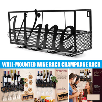 Wall Mounted Wine Rack Bottle Glass Holder Cork Storage Store Red White Champagne Home Kitchen TN99
