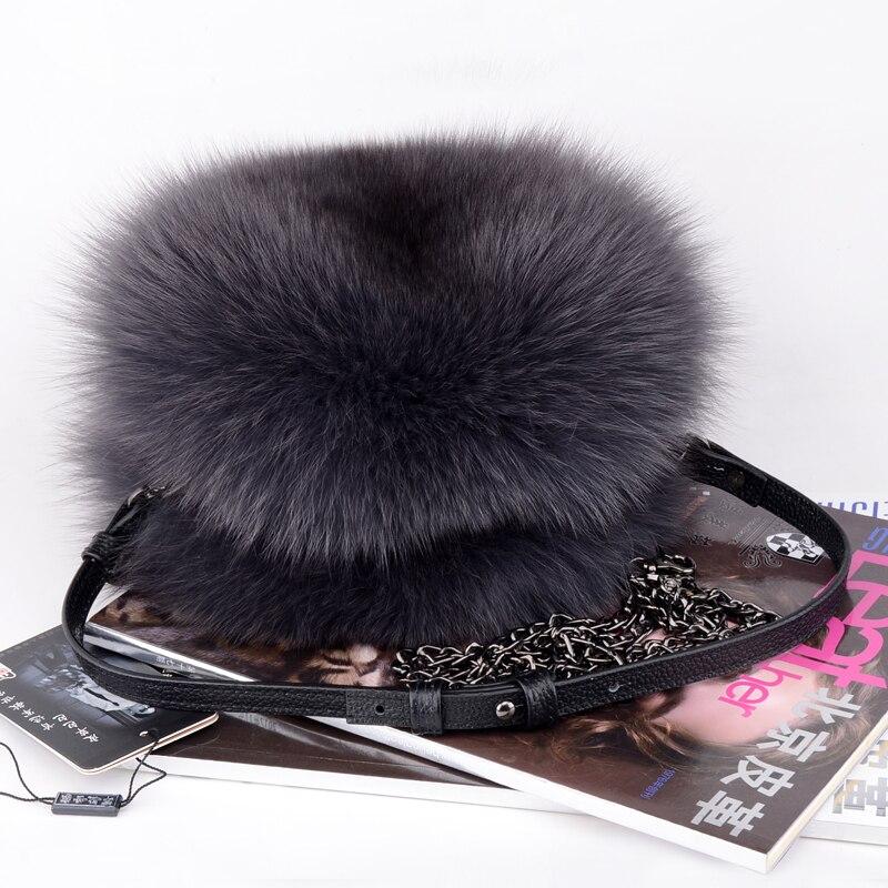 Luxo outono e inverno mulheres ombro saco de cabelo raposa moda senhora redonda saco macio 2019 jovens senhoras crossbody saco feminino - 5