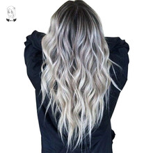 WHIMSICAL W Long Wavy Ombre Black Gray Mixed Blonde Wigs Natural Middle