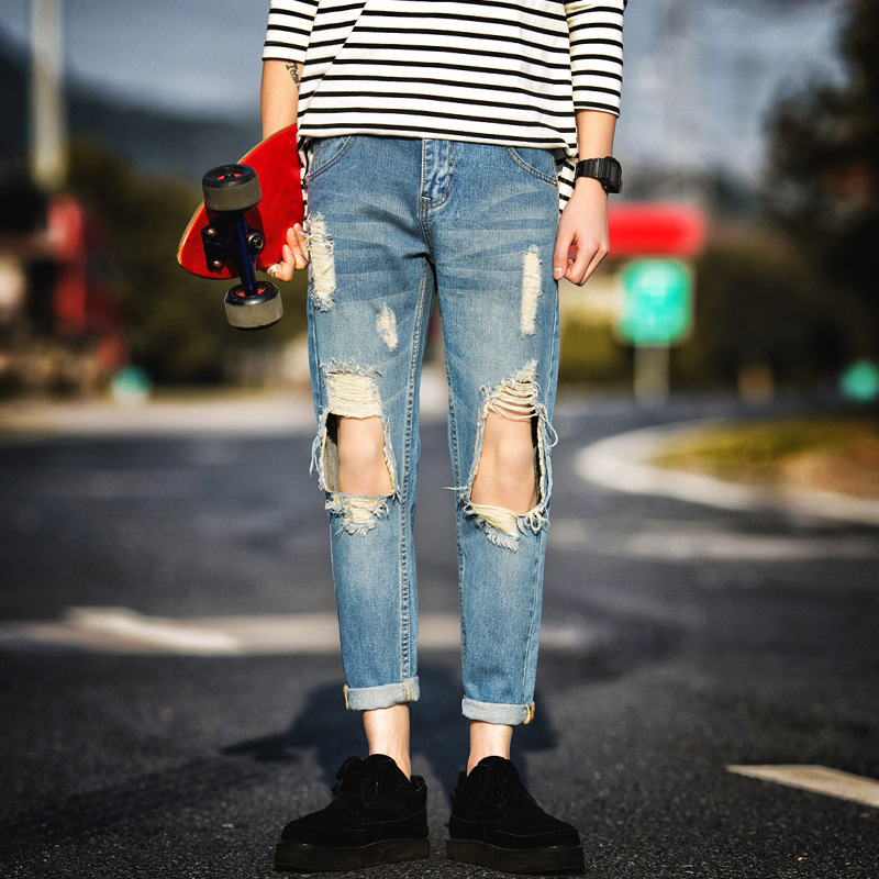 Hot Selling Trend MEN'S Wear Large With Holes Jeans Frayed Ripped Jeans Capri Harem Pants 10