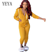 YEYA Womens Sexy Two Pieces Sets Jumpsuit Female Casual Long Sleeve Hooded Zipper Pockets Elegant Crop Rompers Autumn Playsuits