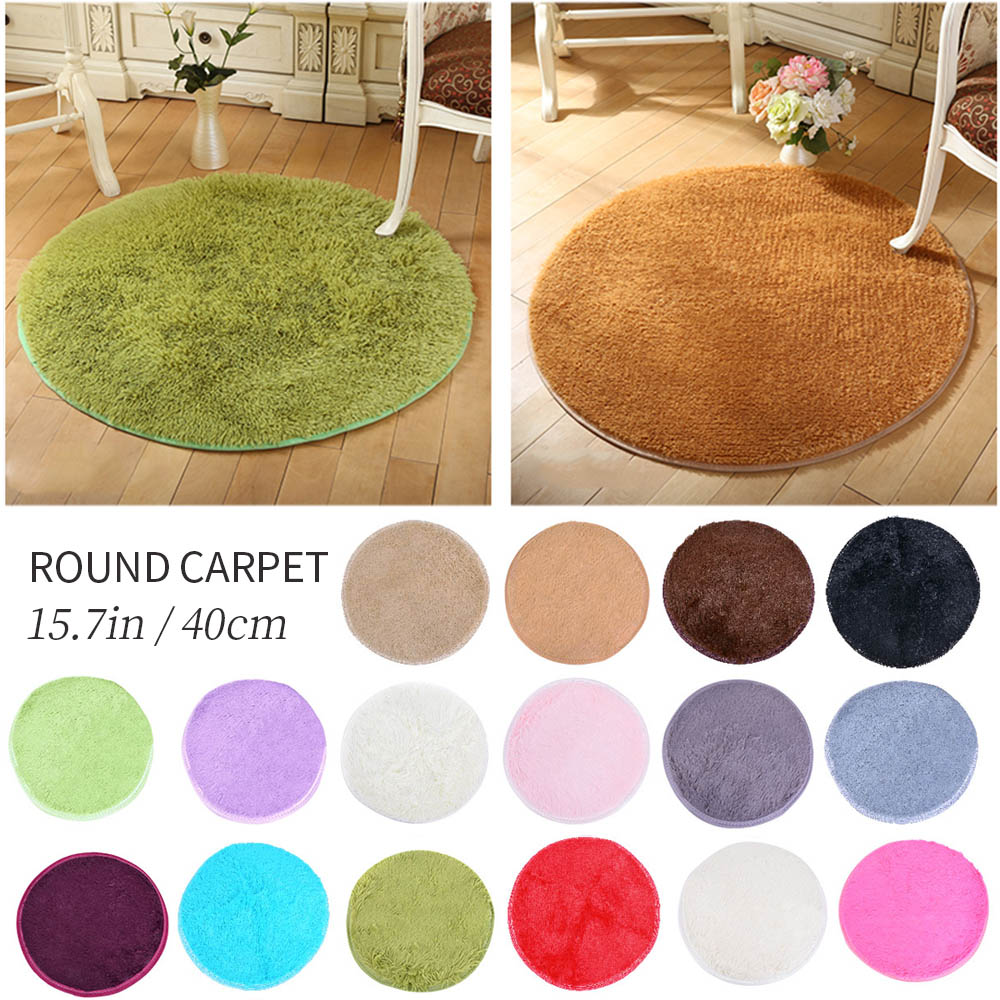 Urijk 1pc Fluffy Round Carpets For Living Room Decor Faux Fur Carpet Kids Room Short Plush Rugs For Bedroom Shaggy Area Rug