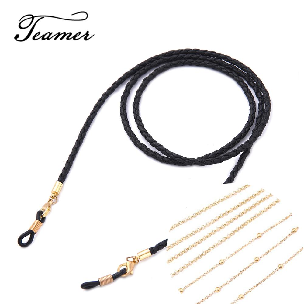 Teamer 79 Sunglasses Chains Lanyard Strap Braid Leather Eyeglass Glasses Chain Beaded Cords Reading Glasses Eyewear Accessories