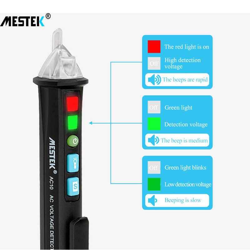 Voltímetro digital MESTEK AC10, bolígrafo de contacto inteligente, detector de voltaje, medidor de voltímetro de CA, tacómetro automático