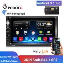 Podofo 2din Autoradio Android GPS Navi WiFi TF Auto Multimedia Speler Auto Stereo Voor VW TOYOTA GOLF Nissan Hyundai CR V Autoradio