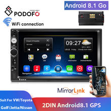 Podofo 2din Car Radio Android GPS Navi WiFi TF coche reproductor Multimedia estéreo de coche para VW TOYOTA GOLF Nissan Hyundai CR-V Autoradio(China)