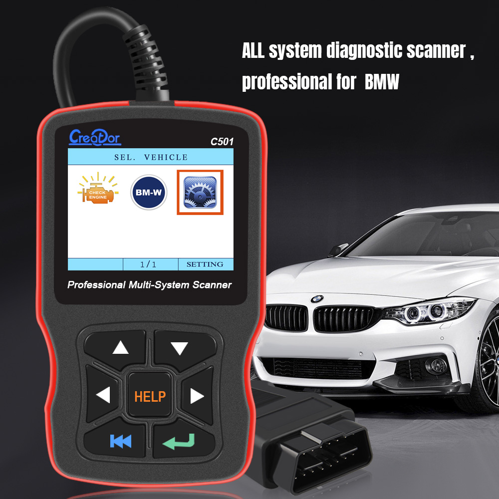 Creator C501 Obd2 Scanner For Bmw Obd 2 All System Diagnostic Scanner With Bmw 20 Pin Ac Eps Oil Service Reset Epb Abs Airbag Code Readers Scan Tools Aliexpress