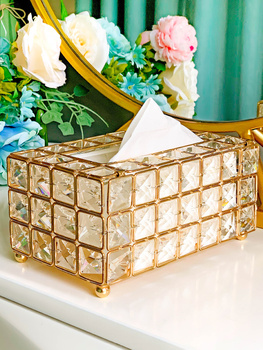 Bathroom Crystal European and American style Removable Tissue Box Organizer Holder For Office Home Living Room Luxury Paper Rack