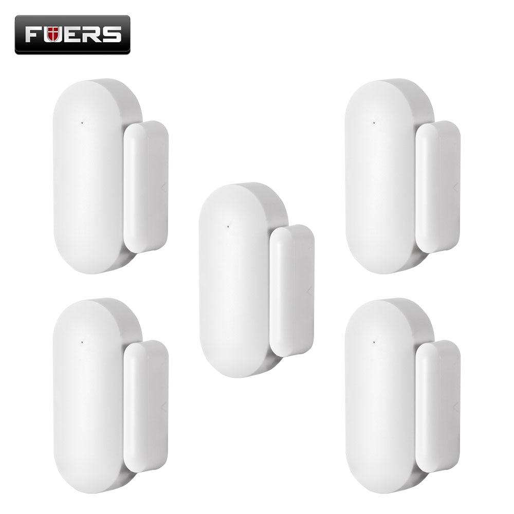 Fuers NEW Wireless Mini Door Window Magnet Sensor Detector For  WG11 PG103 Home Alarm WiFi GSM Security Alarm 433mhz Door Sensor