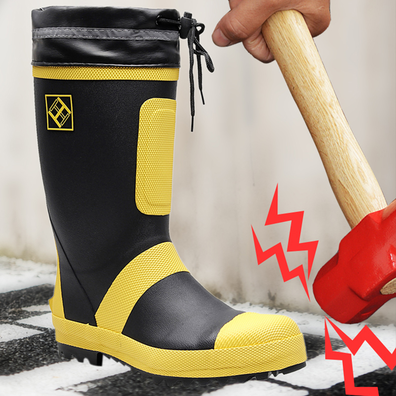 Size 50 Rain Boots Men Safety Work Safety Shoes For Men Rubber Rain boots Waterproof Anti-Smashing Work Boots Steel Toe Shoes image