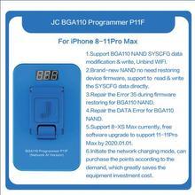 สถานที่แล้วJC P11 BGA110 โปรแกรมเมอร์NANDอ่านเขียนโปรแกรมเมอร์สำหรับiPhone 8 8P X XR XS XSMAXหน่วยความจำNANDอัพเกรดข้อผิดพลาดซ่อมเครื่องมือ
