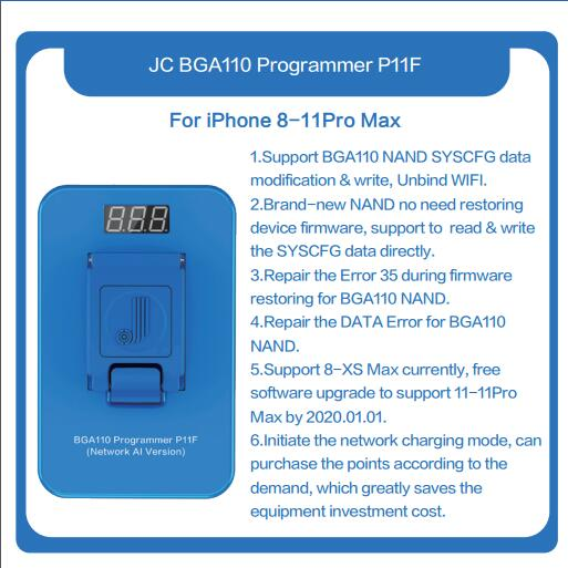 Updated JC P11 BGA110 Programmer NAND Read Write Programmer For IPhone 8 8P X XR XS XSMAX NAND Memory Upgrade Error Repair Tool