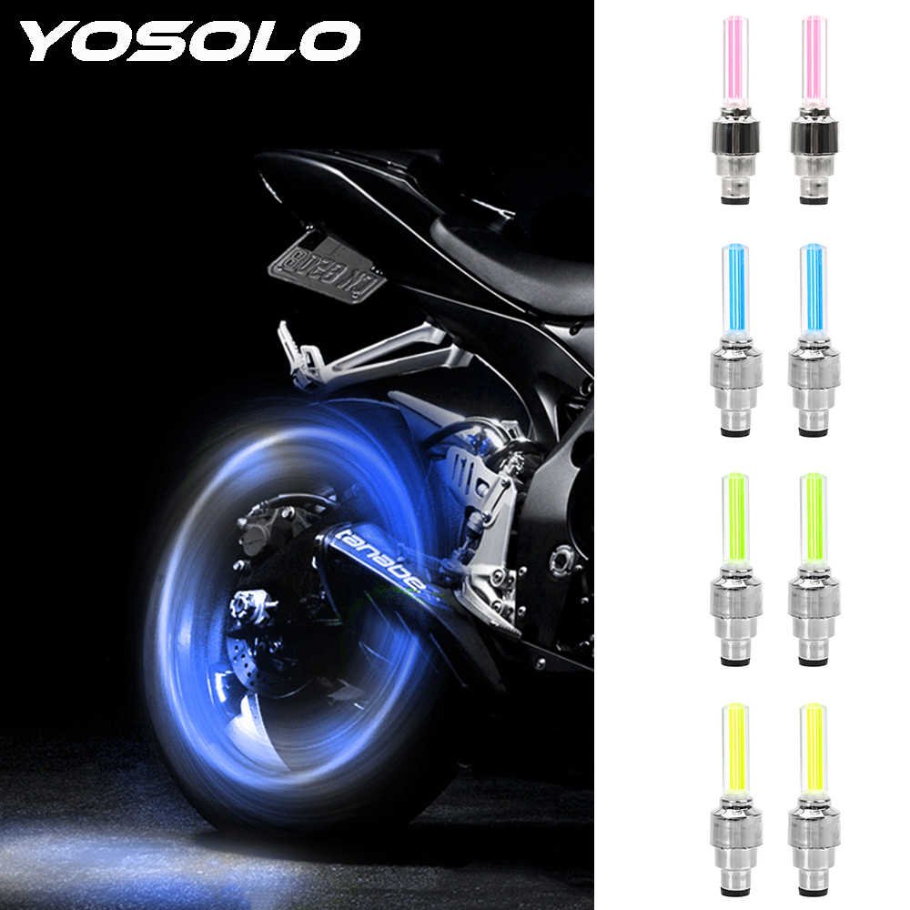 YOSOLO 1 pair Wheel Spokes Lamp Neon Lamp Light stick type LED Light Mountain Bike Light Car Tire Valve Cap Decorative Lantern