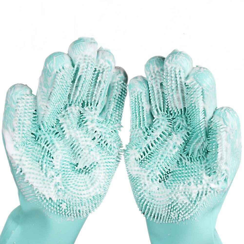 2 шт. для мытья посуда уборки перчатки Magic силиконовой резины для мытья посуды перчатки для Щетка для домашнего хозяйства инструмент для чистки кухни на каждый день