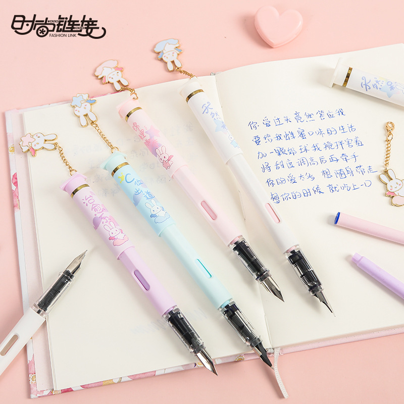 0.5mm Kawaii Rabbit Pendant Metal Nibs Fountain Pen With Replaceable Ink Bottle Caligraphy Student Writing Supply Stationery Set