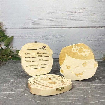 Baby Tooth Box Spanish/English/Dutch/Russian/French /Italian Wooden Milk Teeth Organizer Storage Boys Girls Baby Souvenirs Gift