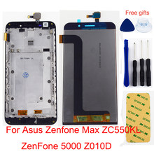 For Asus Zenfone Max ZC550KL ZenFone 5000 Z010D LCD Display Monitor Module + Touch Screen Digitizer Sensor Panel Assembly Frame(China)