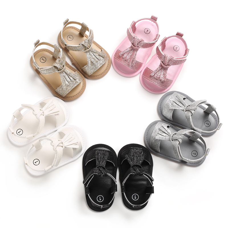 Stylish Baby Girls Sandals Tassel Toddler Slip-On Princess Shoes Summer Solid Color Baby PU Leather Sandals 0-18 Months
