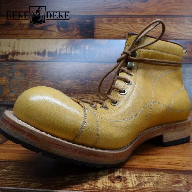 High Quality Mens Genuine Leather Round Toe Biker Boots Natural Cowhide Lace Up High-Top Non-Slip Vintage Outdoor Ankle Boot