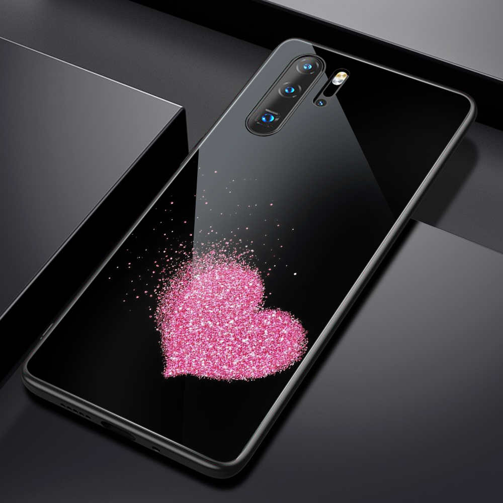 Heart <font><b>Glass</b></font> <font><b>Case</b></font> for <font><b>Huawei</b></font> P30 P20 <font><b>P10</b></font> Pro P Smart Plus Lite 2019 Z for Honor 20 20i 10 10i 9 7A 7C 9X Pro Lite Cover Fundas image