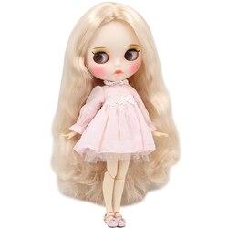 ICY DBS lalki Blyth 30cm biała skóra dzikie jasny złoty loki włosy 1/6 wspólne body nowy matowy twarz z brwi Lip połysk DIY zabawki