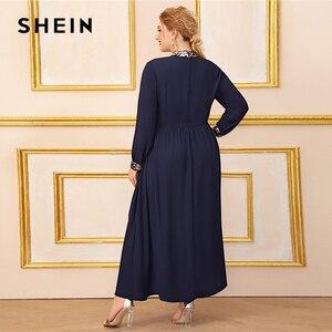 Image 5 - Шеин размера плюс темно синее платье с контрастной отделкой пайетками для женщин, с длинным рукавом, осень, высокая талия, ТРАПЕЦИЕВИДНОЕ элегантное платье макси