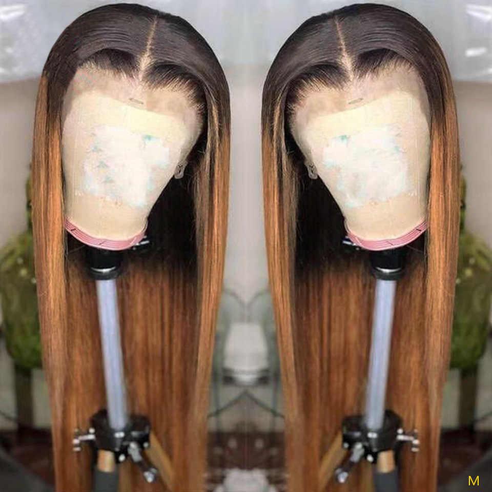 Ombre blond głębokie część prosto 13x6 koronki przodu włosów ludzkich peruk 1B27 wstępnie oskubane brazylijski peruka z włosów typu Remy dla czarnych kobiet 130%