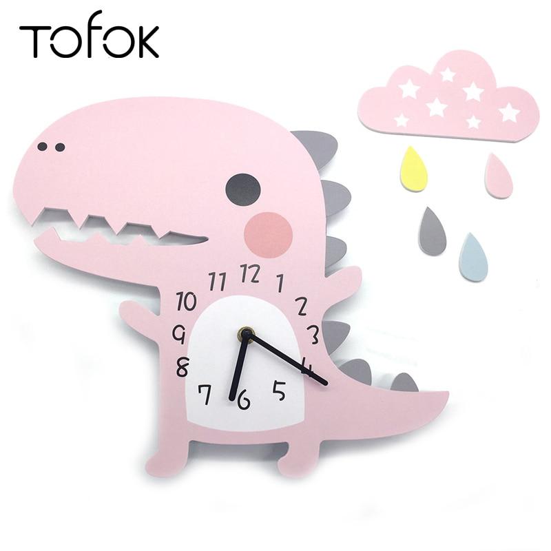 Tofok 3D Cartoon Dinosaur Silent Clock Home Children Room Nursery Wall Hanging Clock Pink Cloud Raindrop Wall Sticker Decoration