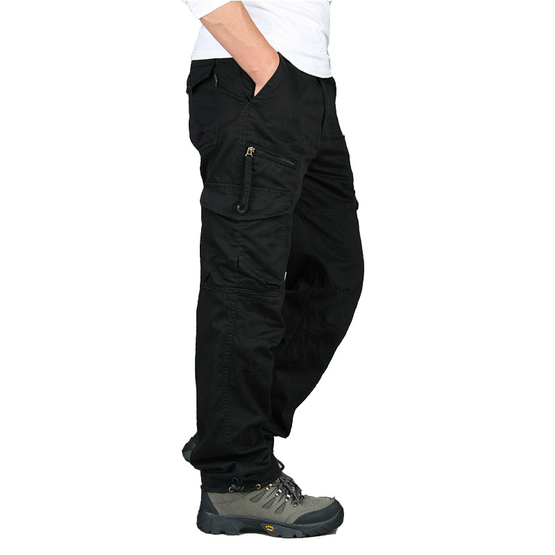 Men Trousers Army-Pants Streetwe Sizecargo Straight Casual Plus Autumn Spring Long Homme