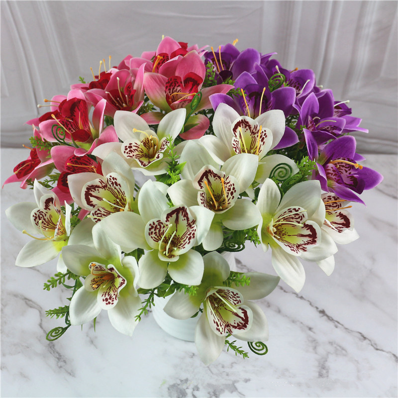 1Pcs Artificial Flower Simulation Silk Orchid Fake Orchid Plant For Wedding Home Christmas Decoration Multiple Colour JH134